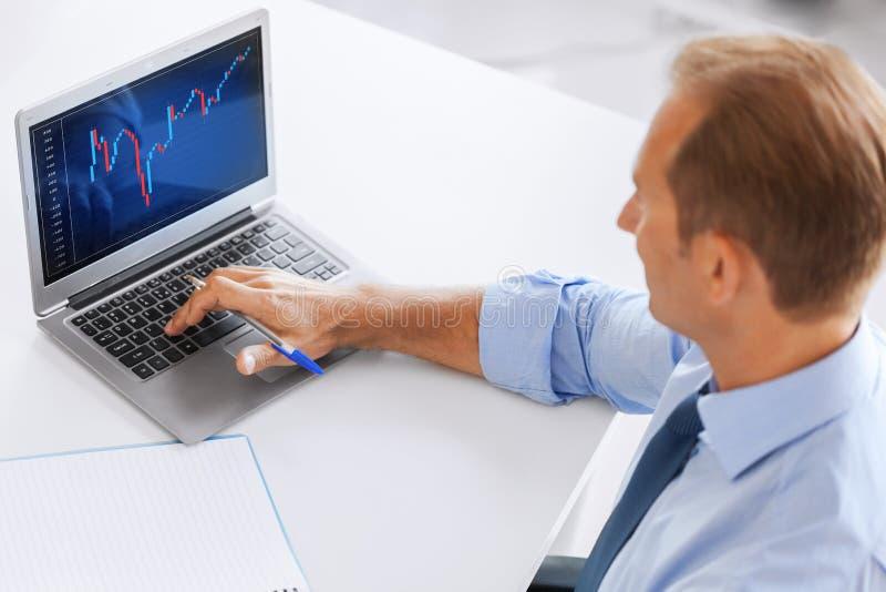 Uomo d'affari che lavora con il grafico dei forex in ufficio fotografia stock libera da diritti