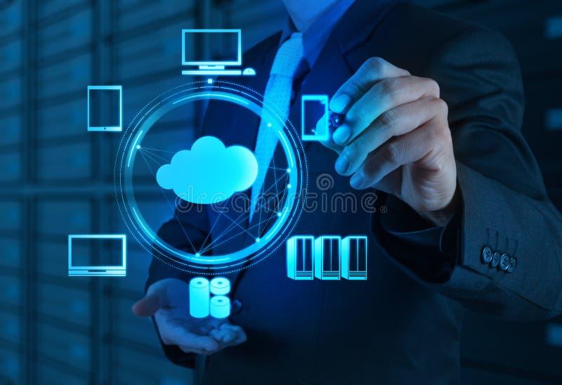 Uomo d'affari che lavora con un diagramma di calcolo della nuvola sul nuovo co fotografia stock libera da diritti