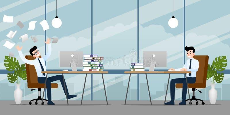 Uomo d'affari che lavora nell'emozione differente Due uomini d'affari hanno situazione di contrasto dentro di lavoro uno possono  illustrazione di stock