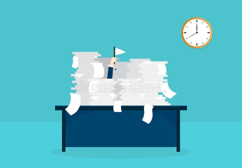 Uomo d'affari che lavora nell'ufficio Molto lavoro di ufficio sulla tavola Documenti importanti Progettazione dell'illustrazione  illustrazione di stock