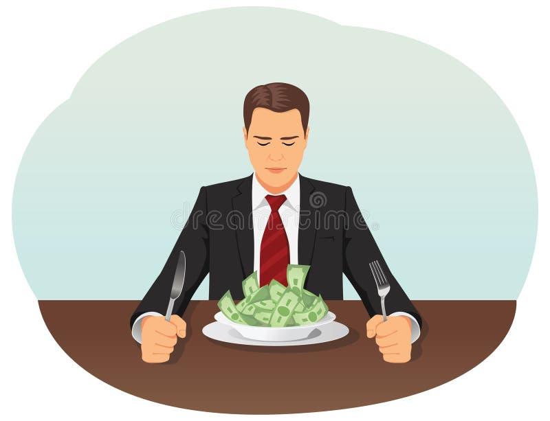 Uomo d'affari che mangia soldi illustrazione vettoriale