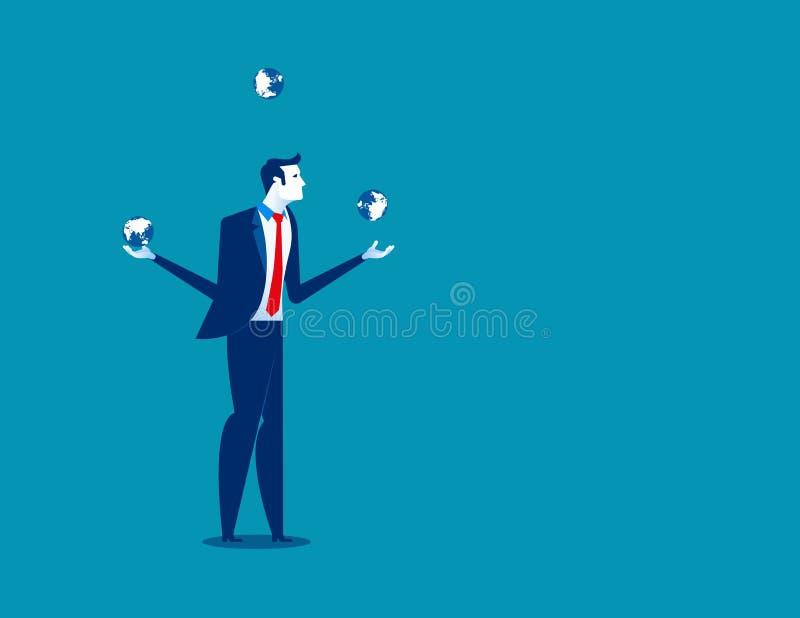 Uomo d'affari che manipola con i globi del pianeta Terra Illustrazione di vettore di affari di concetto illustrazione di stock