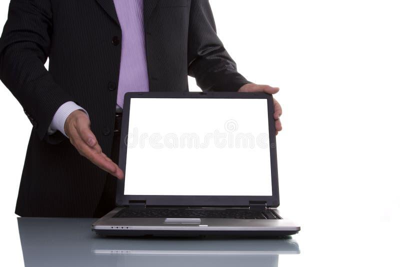Uomo d'affari che mostra i dati immagini stock