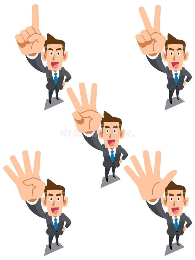 Uomo d'affari che mostra i numeri con le vostre dita illustrazione vettoriale