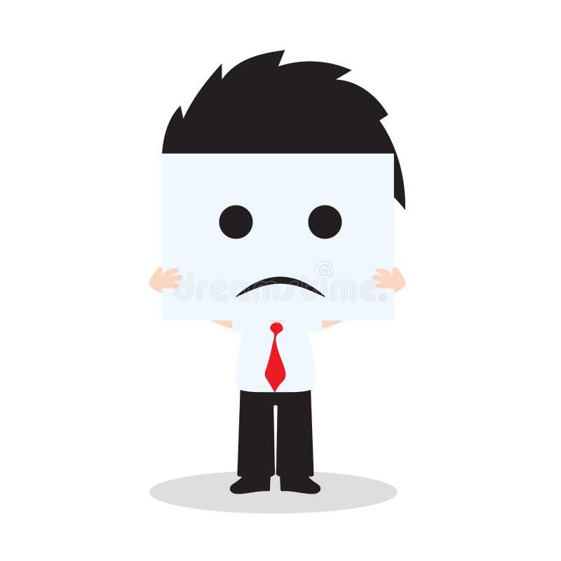 Uomo d'affari che mostra il fronte di tristezza su fondo bianco, illustrazione di vettore nella progettazione piana illustrazione vettoriale