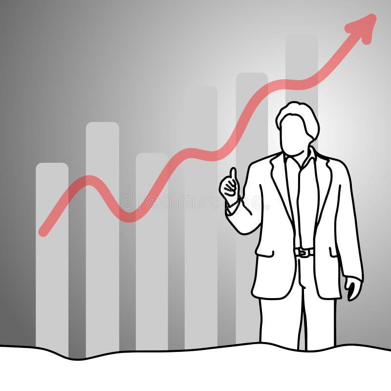 Uomo d'affari che mostra pollice su con la freccia del grafico sul illustra di vettore royalty illustrazione gratis