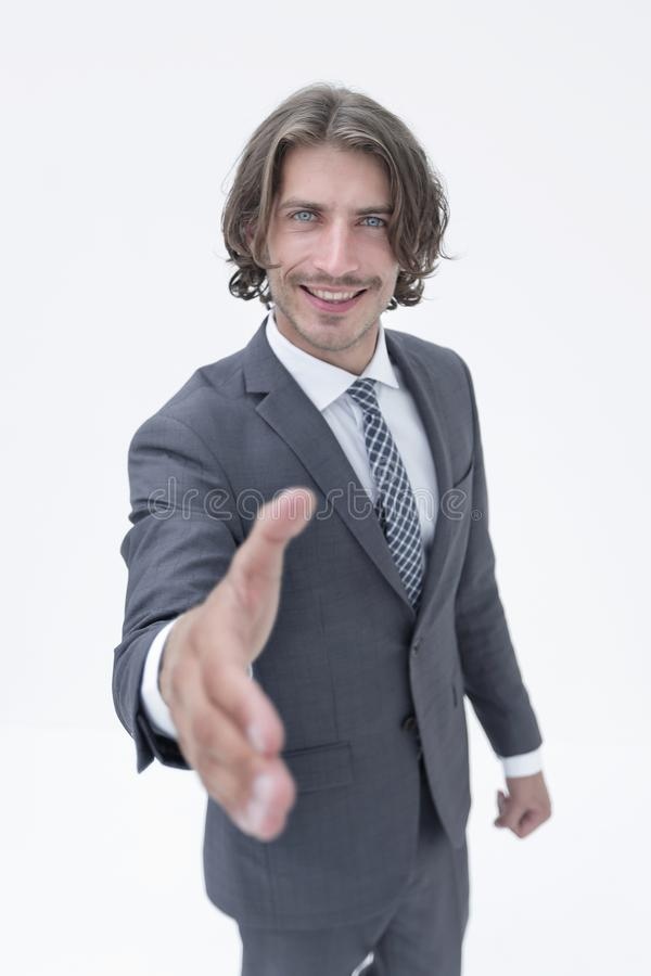 Uomo d'affari che offre per la stretta di mano fotografia stock libera da diritti