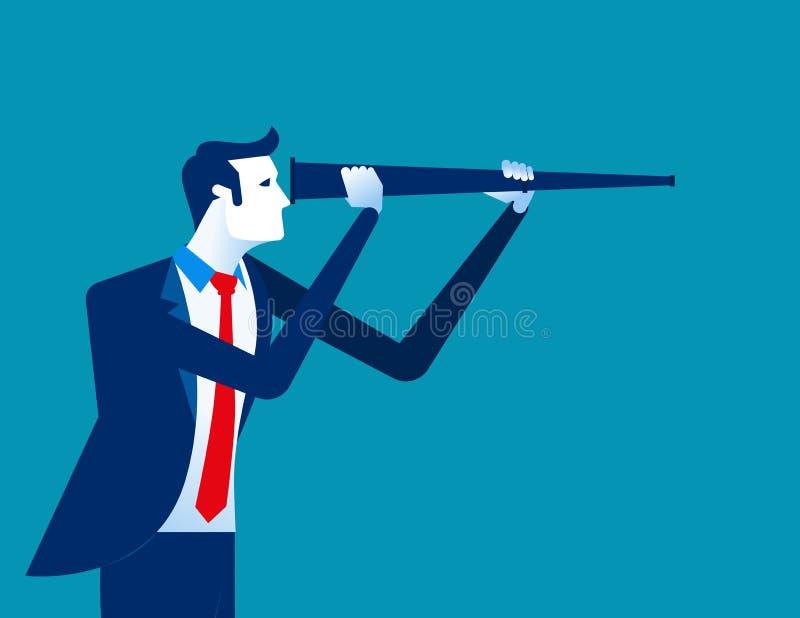 Uomo d'affari che osserva al futuro Illustrazione di vettore di affari di concetto royalty illustrazione gratis