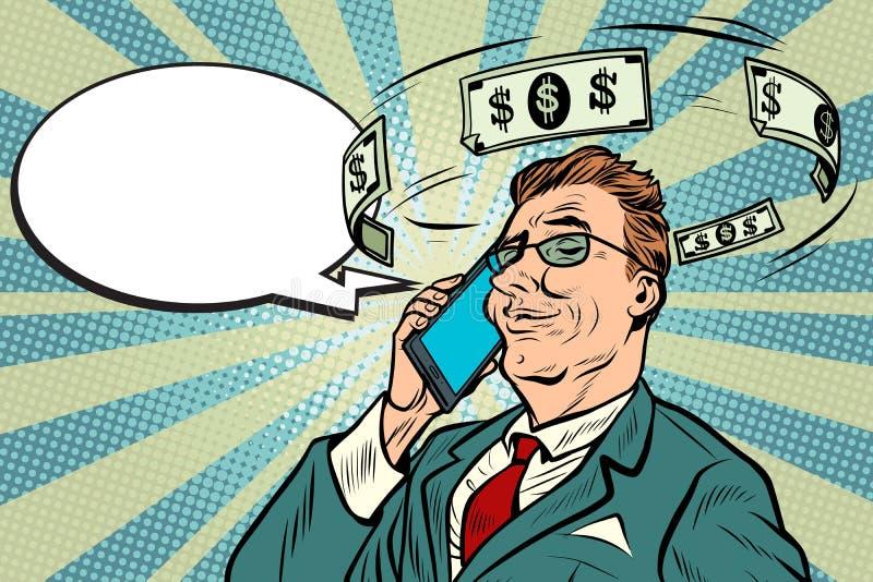 Uomo d'affari che parla sul telefono circa soldi illustrazione di stock