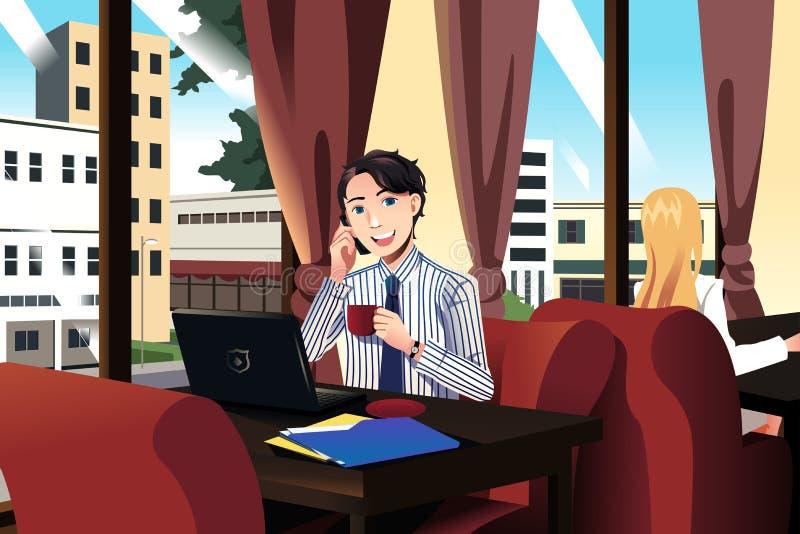 Uomo d'affari che parla sul telefono mentre mangiando caffè in un caffè illustrazione vettoriale