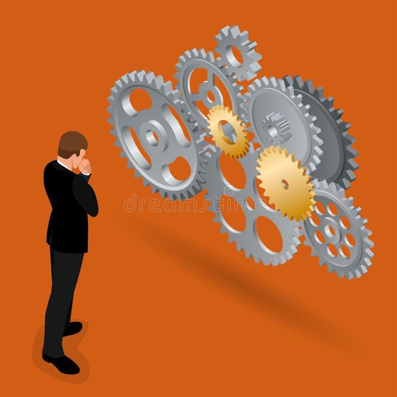 Uomo d'affari che pensa come sviluppare affare Concetto di affari di tecnologia di funzionalità Vettore isometrico piano 3d illustrazione di stock