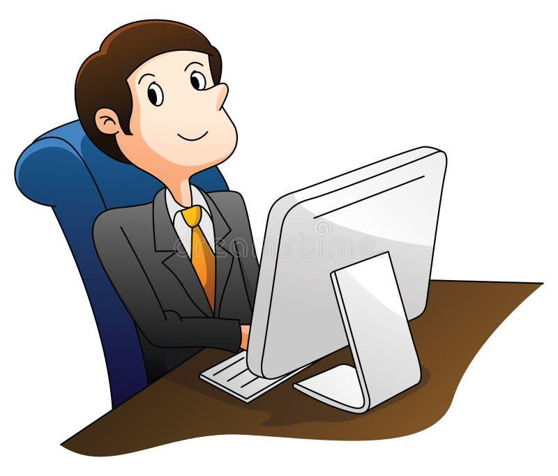 Uomo d'affari che per mezzo del calcolatore illustrazione di stock