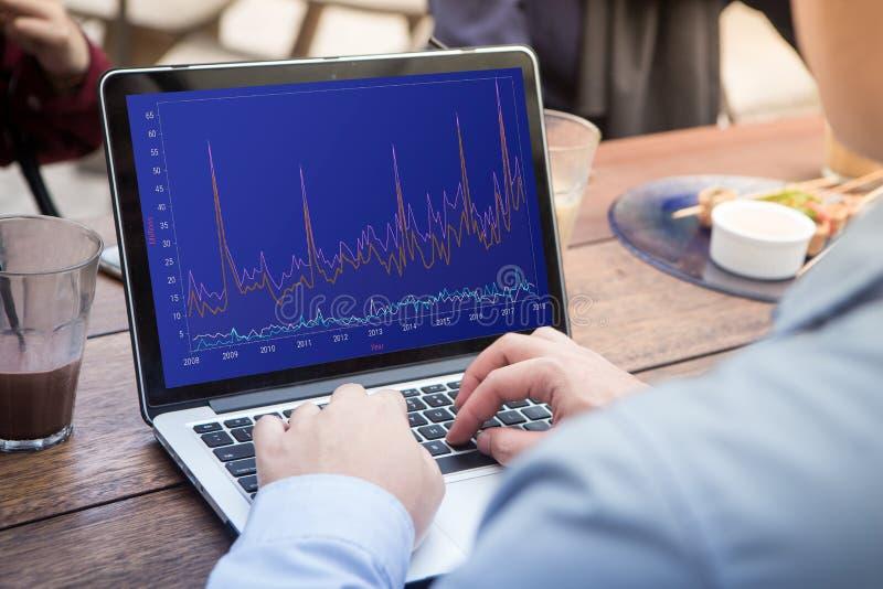 Uomo d'affari che per mezzo del computer portatile con il mercato di riserva del grafico sullo schermo fotografia stock libera da diritti
