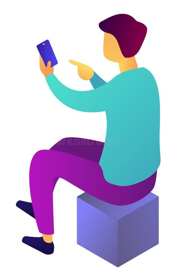 Uomo d'affari che per mezzo dello smartphone che si siede sull'illustrazione isometrica 3D del cubo illustrazione di stock