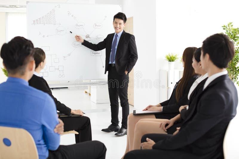 Uomo d'affari che presenta nuovo progetto ai partner in ufficio immagine stock libera da diritti