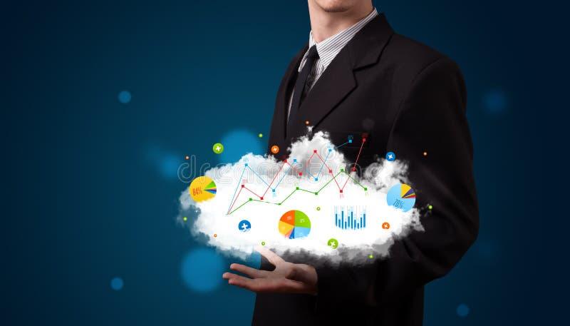 Uomo d'affari che presenta nuvola con i grafici immagine stock