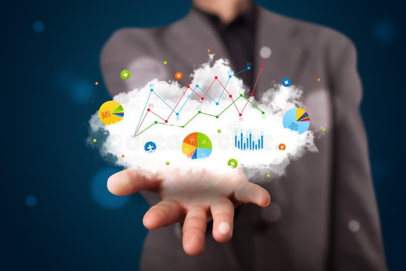 Uomo d'affari che presenta nuvola con i grafici ed icone e simboli del grafico immagine stock