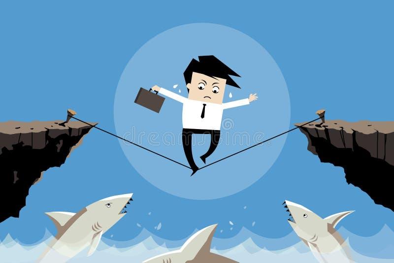 Uomo d'affari che prova ad equilibrare il suo affare nella cattiva situazione, illustrazione di stock