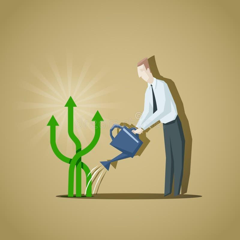 Uomo d'affari che prova a crescere gli indicatori di affari Aumento dei Bu illustrazione vettoriale