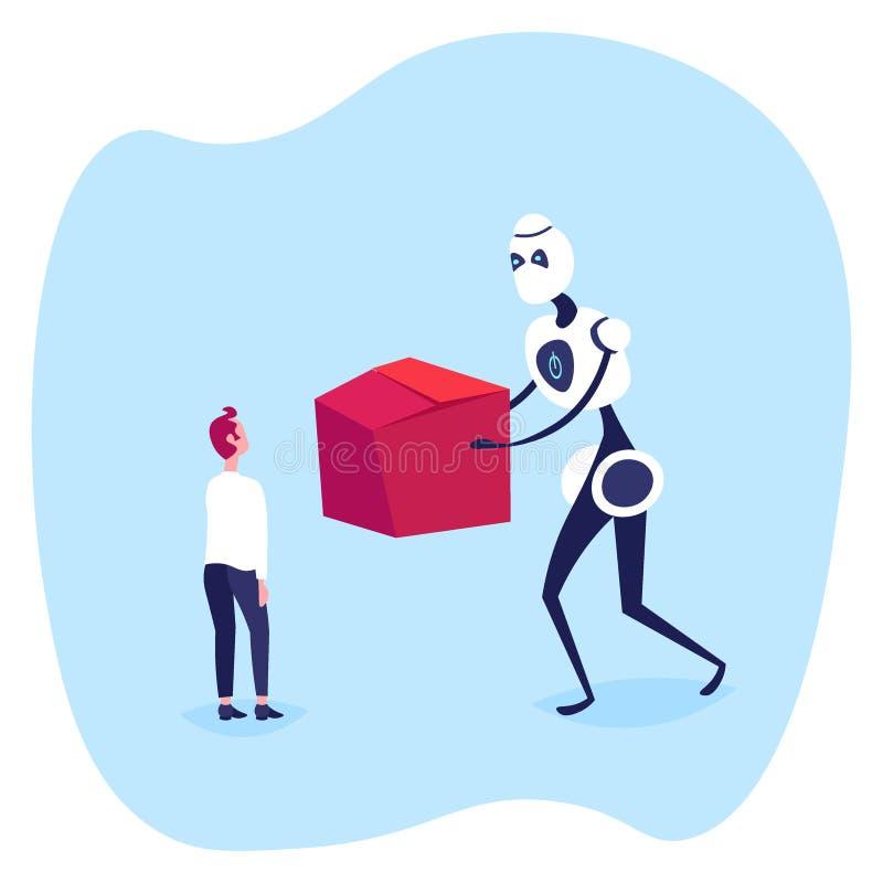 Uomo d'affari che riceve scatola di cartone dal commercio elettronico di compera online di concetto di intelligenza artificiale d illustrazione vettoriale