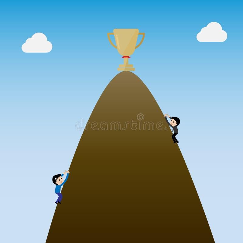 Uomo d'affari che scala la montagna al trofeo di grt sulla cima royalty illustrazione gratis
