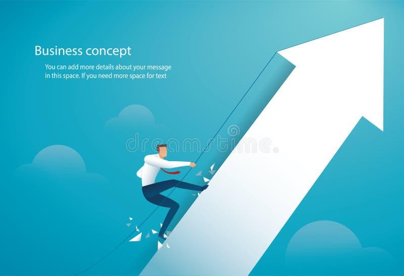 Uomo d'affari che scala sul grande vettore eps10 della freccia illustrazione di stock