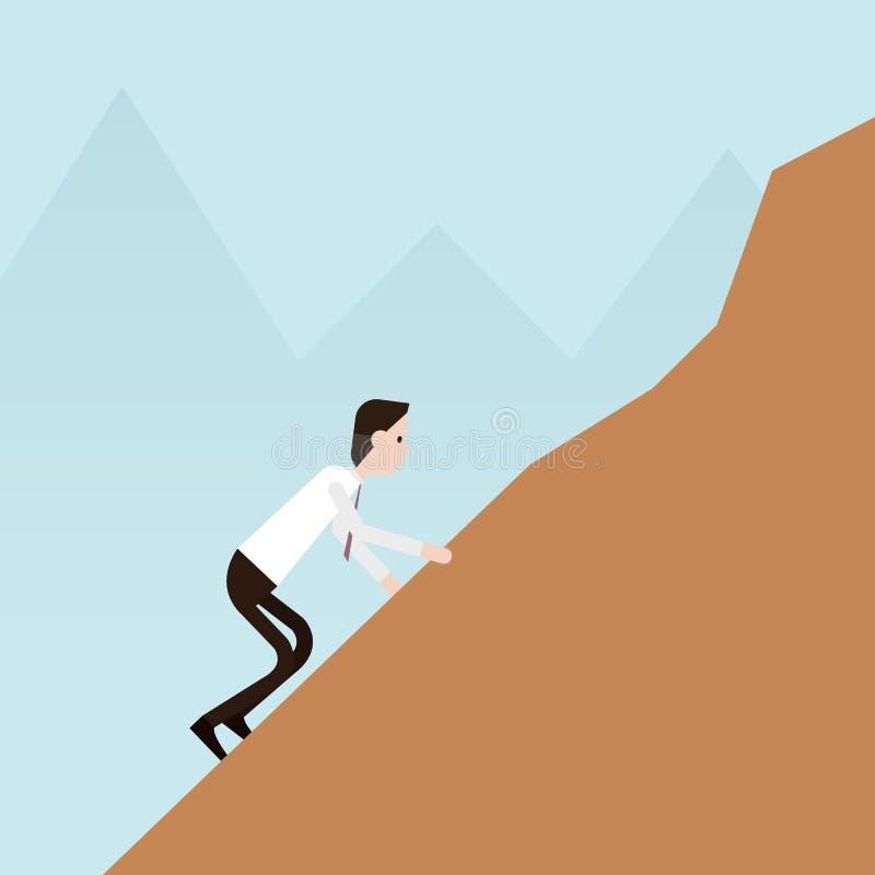 Uomo d'affari che scala sulle rocce illustrazione di stock