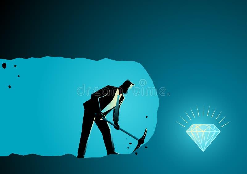 Uomo d'affari che scava e che estrae per trovare tesoro royalty illustrazione gratis