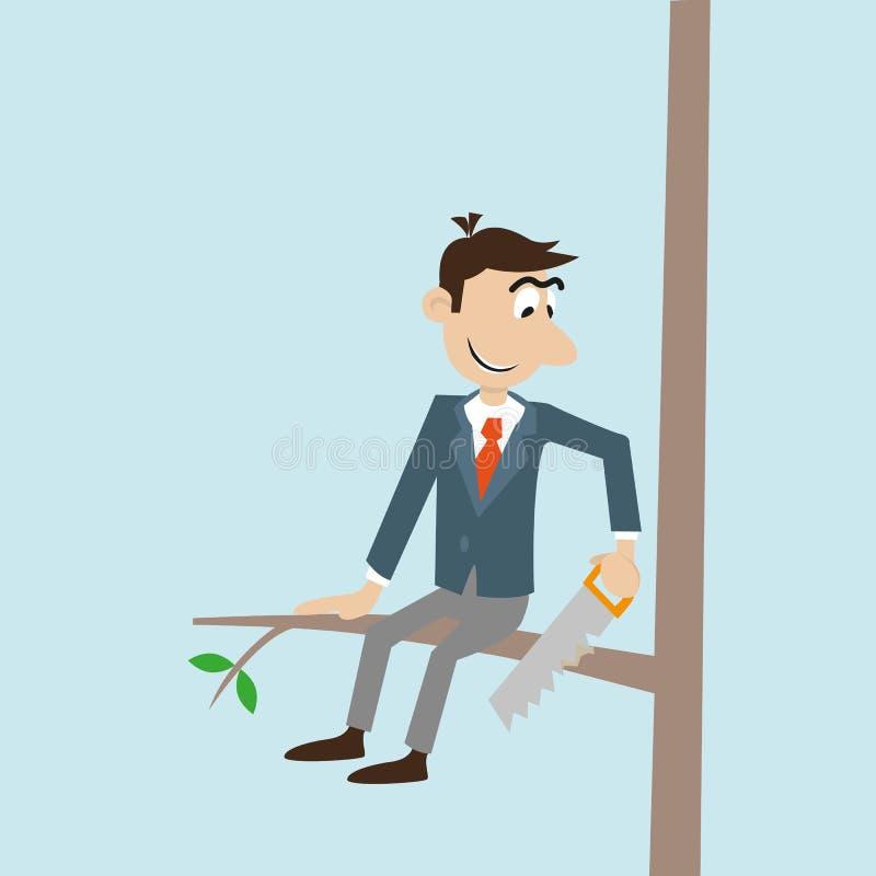 Uomo d'affari che sega un albero illustrazione vettoriale