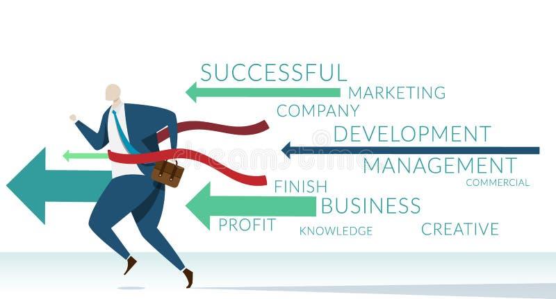 Uomo d'affari che si dirige all'arrivo con la parola chiave delle componenti di affari di successo affare con il concetto della g illustrazione di stock