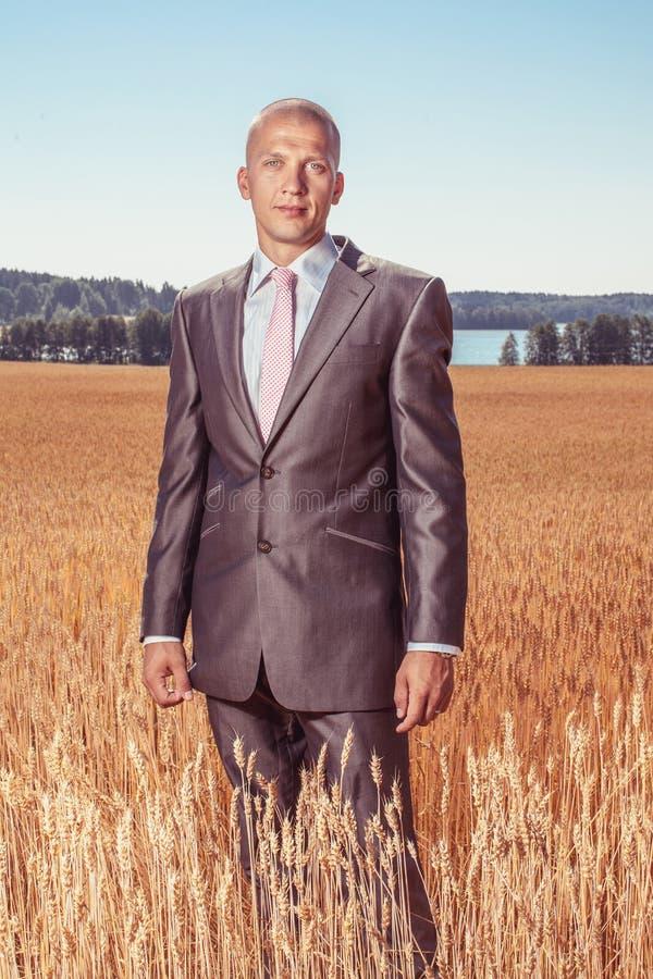 Uomo d'affari che si leva in piedi in un campo fotografie stock libere da diritti