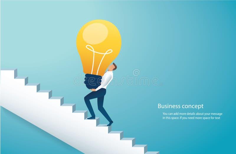 Uomo d'affari che si preoccupa le scale rampicanti della lampadina all'illustrazione eps10 di vettore di successo royalty illustrazione gratis