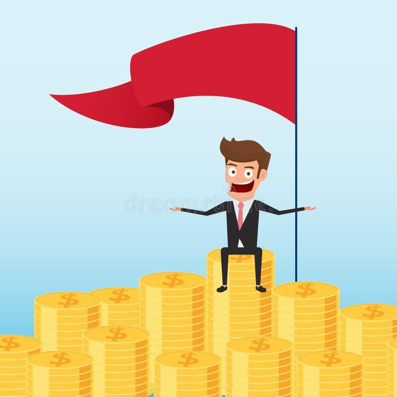 Uomo d'affari che si siede fiero sulla pila dei soldi Concetto di risparmio e di investimento Capitale e profitti aumentanti Ricc illustrazione di stock