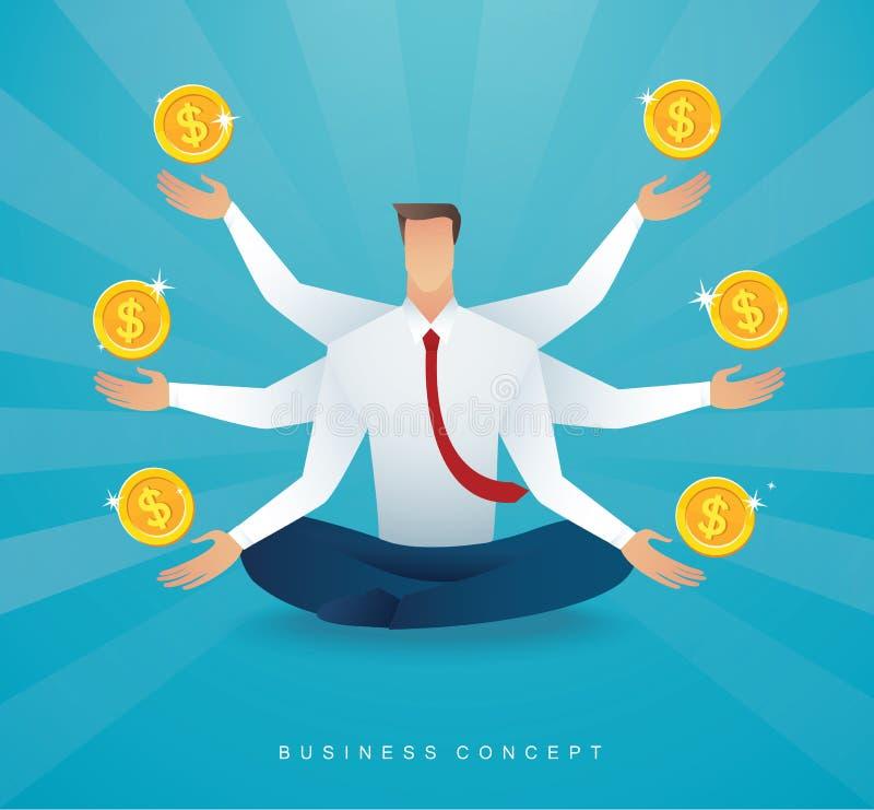 Uomo d'affari che si siede nella meditazione di posa del loto con il simbolo dei soldi delle monete Illustrazione EPS10 di vettor illustrazione vettoriale