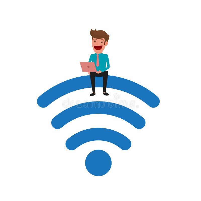 Uomo d'affari che si siede sul Wi-Fi e che per mezzo del computer portatile Tecnologia senza fili del collegamento di zona di Wi- illustrazione vettoriale