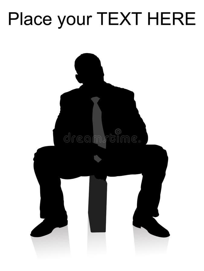 Uomo d'affari che si siede sulla cartella illustrazione vettoriale
