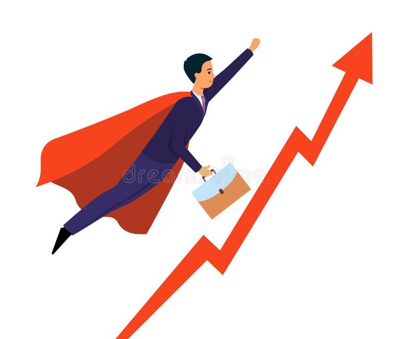 Uomo d'affari che sorvola indicare sulla freccia come illustrazione piana di vettore del supereroe royalty illustrazione gratis