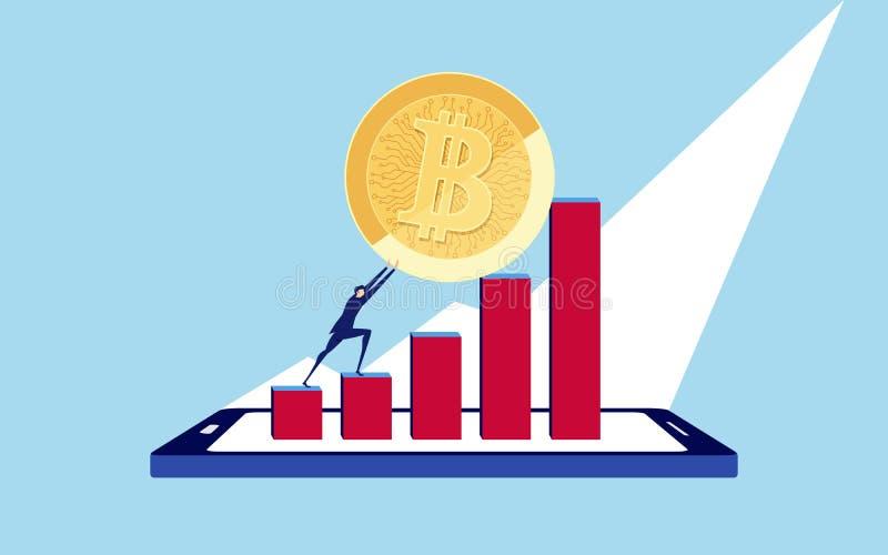 Uomo d'affari che spinge un grande Bitcoin fino alla cima dei dati sullo smartphone Difficoltà di crisi di problema di business e royalty illustrazione gratis