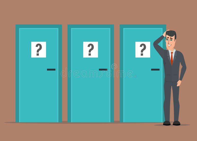 Uomo d'affari che sta accanto a tre porte, incapaci di fare il righ illustrazione vettoriale
