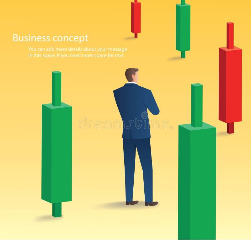 Uomo d'affari che sta con il fondo del grafico del candeliere, concetto del mercato azionario, illustrazione di vettore royalty illustrazione gratis