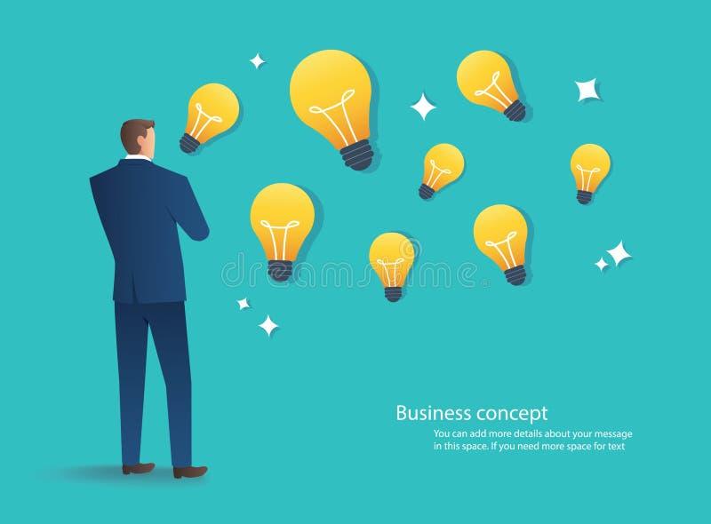Uomo d'affari che sta con l'illustrazione di vettore di concetto di idea della lampadina illustrazione di stock