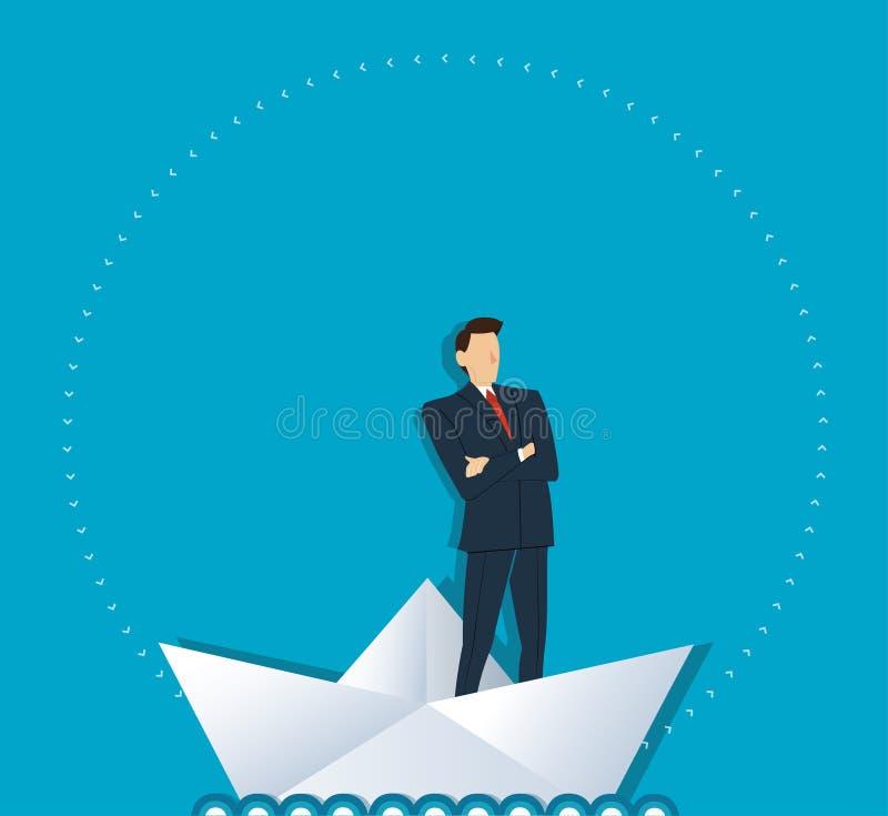 Uomo d'affari che sta con le armi dell'incrocio su un vettore di carta della barca, concetto di affari illustrazione vettoriale