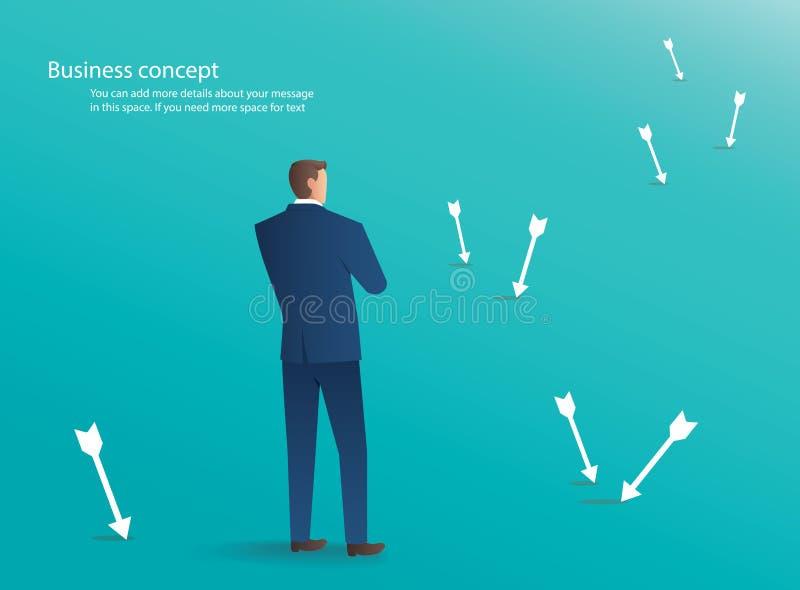 Uomo d'affari che sta con le frecce intorno lui, fondo di concetto di affari illustrazione vettoriale