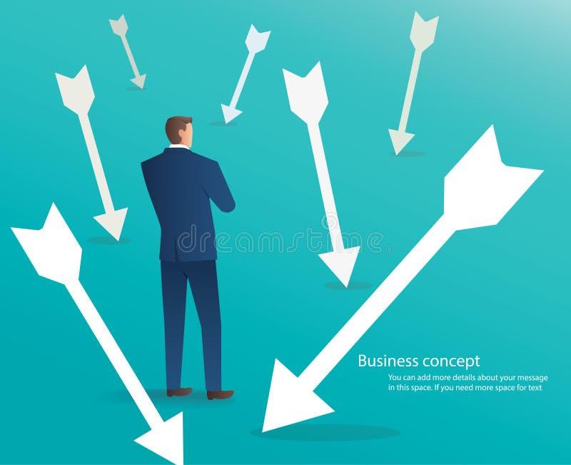 Uomo d'affari che sta con le frecce intorno lui, fondo di concetto di affari illustrazione di stock