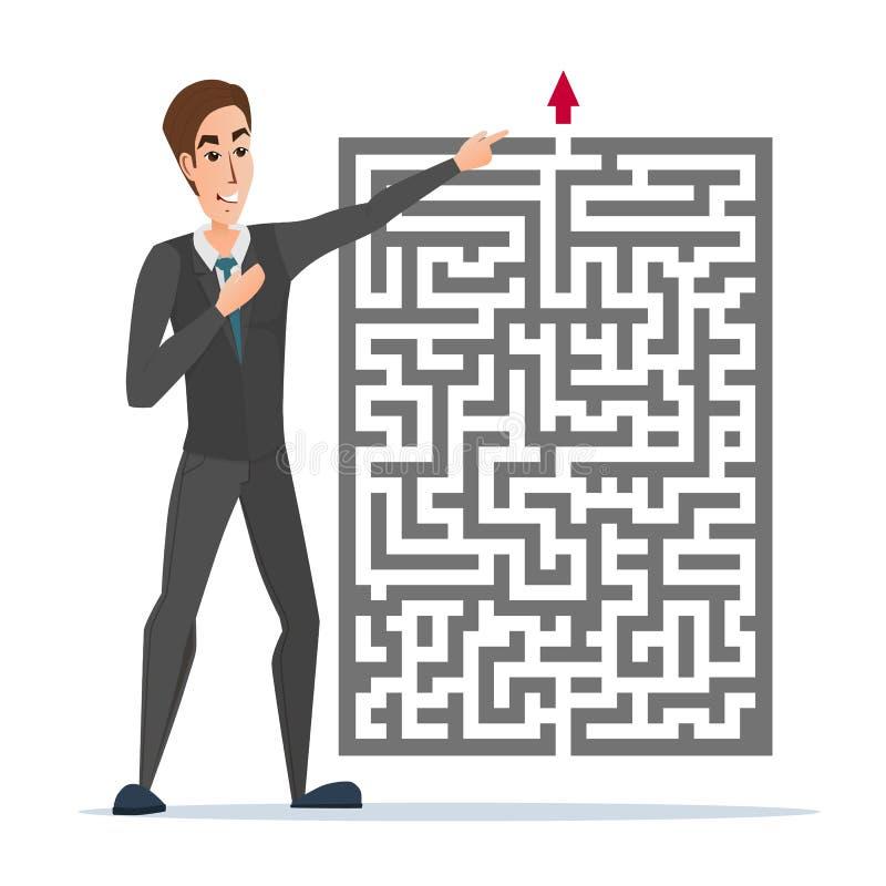 Uomo d'affari che sta davanti ad un labirinto con la rappresentazione rossa della freccia illustrazione vettoriale