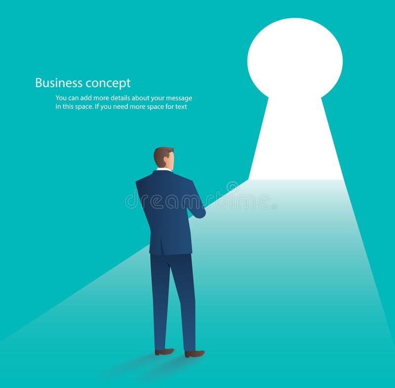 Uomo d'affari che sta davanti alla porta del foro chiave, illustrazione di vettore di concetto di affari illustrazione di stock