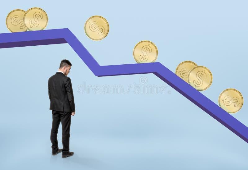 Uomo d'affari che sta nell'ambito del grafico di caduta con le monete dorate che rotolano giù immagini stock