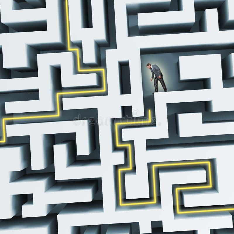Uomo d'affari che standining nel labirinto illustrazione di stock