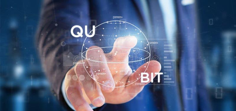 Uomo d'affari che tiene concetto di computazione di Quantum con la rappresentazione dell'icona 3d del qubit fotografie stock