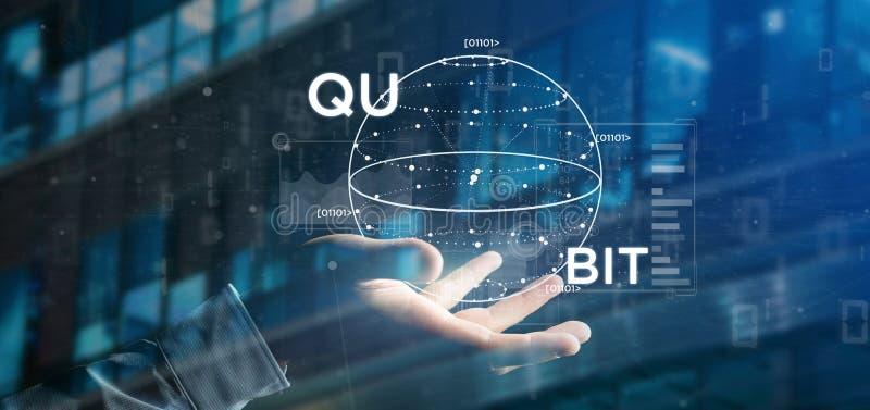 Uomo d'affari che tiene concetto di computazione di Quantum con la rappresentazione dell'icona 3d del qubit fotografia stock